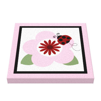 Ladybug and Flowers 2 Canvas Print