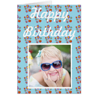 ladybug and flowers - birthday card