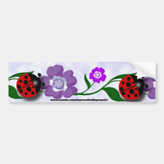 Ladybug and Flowers Car Bumper Sticker