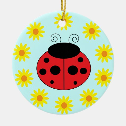 Ladybug and Flowers Ornament