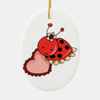LADYBUG AND HEART CHRISTMAS ORNAMENT