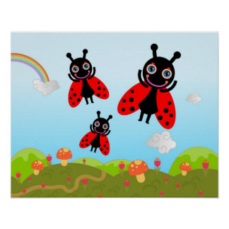 Ladybug and mushrooms poster