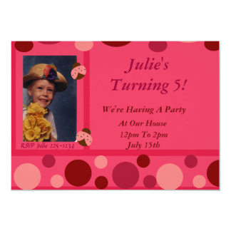 Ladybug and Pink Polka Dots 13 Cm X 18 Cm Invitation Card