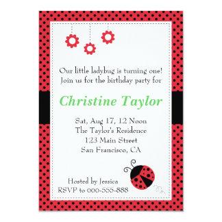 Ladybug and Polka Dots Birthday Party 11 Cm X 16 Cm Invitation Card