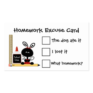 Ladybug and School Supplies Homework Excuse Cards Pack Of Standard Business Cards
