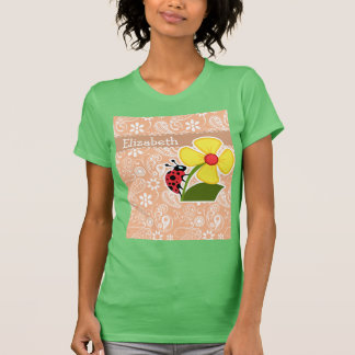 Ladybug; Apricot Color Paisley; Floral Tshirts
