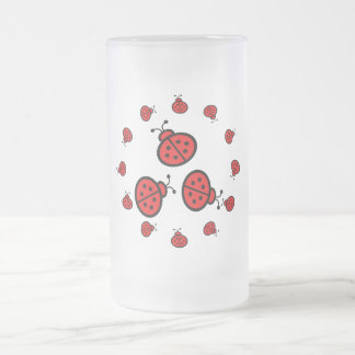 Ladybug Art Gifts Frosted Glass Beer Mug
