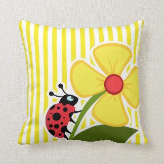 Ladybug; Aureolin Yellow Stripes; Striped Throw Cushion