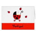 Ladybug Baby Shower Folded Thank You note cards