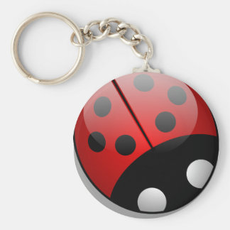 Ladybug Basic Round Button Key Ring