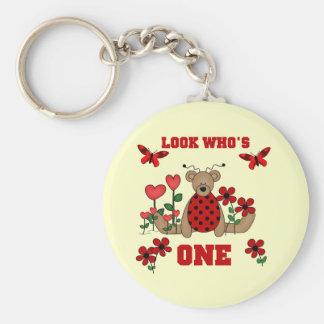 Ladybug Bear First Birthday Tshirts and Gifts Basic Round Button Key Ring