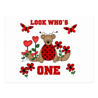 Ladybug Bear First Birthday Tshirts and Gifts Postcard