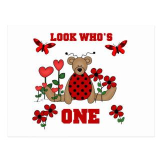 Ladybug Bear First Birthday Tshirts and Gifts Postcard