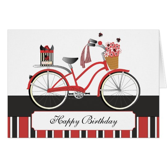 Ladybug Bicycle Card