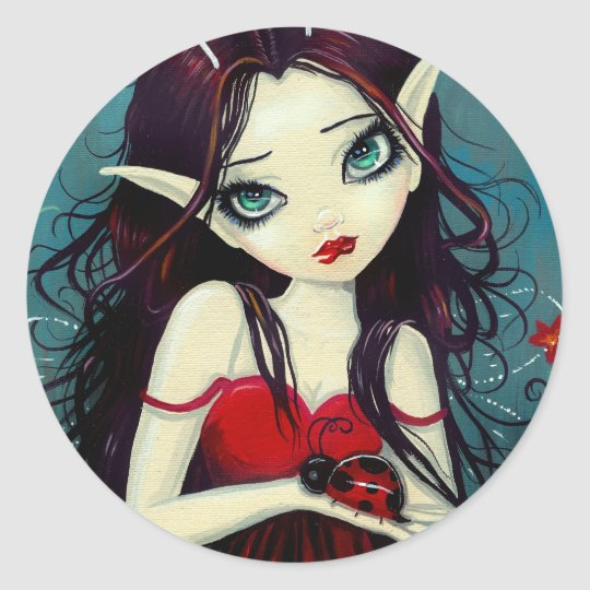 Ladybug Big-Eye Fairy Art Classic Round Sticker