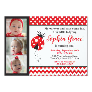Ladybug Birthday Invitation with Photos