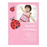 Ladybug Birthday Invitations Pink Photo Card
