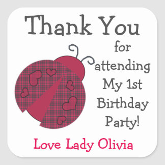Ladybug Birthday Party Favor Stickers