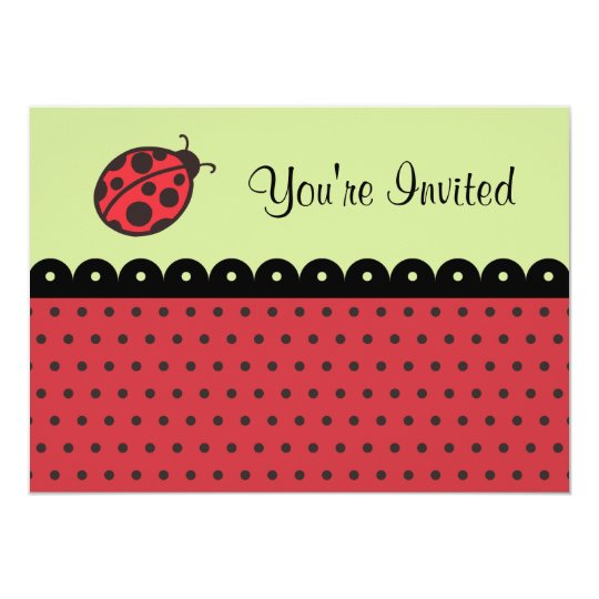 Ladybug Birthday Party Shower Invitations