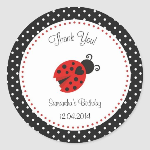 Ladybug Birthday Sticker Red and Black Polka Dots Round Stickers