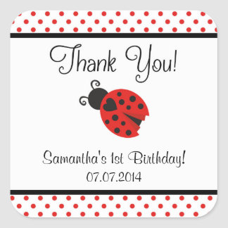 Ladybug Birthday Thank You Stickers