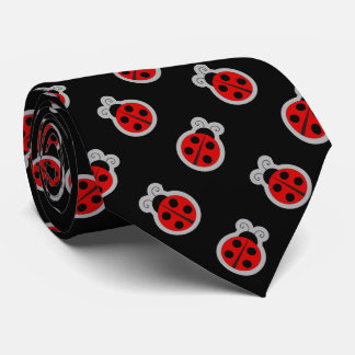 Ladybug Black Background Tie