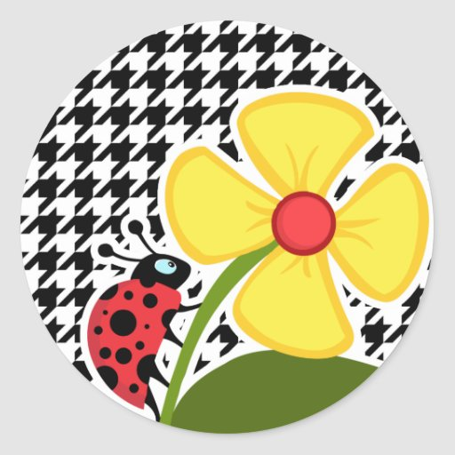Ladybug; Black & White Houndstooth Stickers