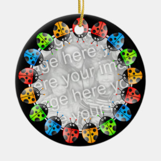 Ladybug Border Round Ceramic Decoration