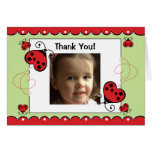 Ladybug Bug PHOTO Thank You for Coming to Party Greeting Cards