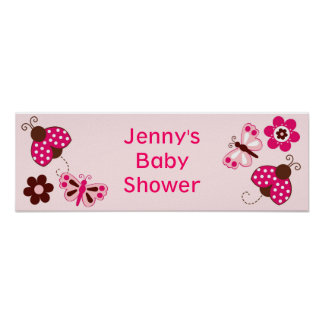 Ladybug Butterfly Personalized Baby Shower Banner Poster