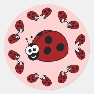 Ladybug Circle Round Sticker
