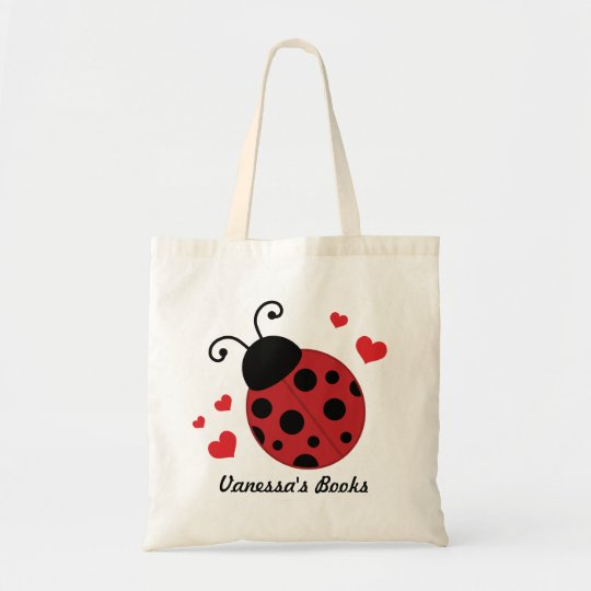 Ladybug Cute Book Tote Bag (Personalised)