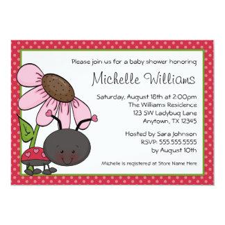 Ladybug Daisy Polka Dot Baby Shower 13 Cm X 18 Cm Invitation Card