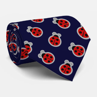 Ladybug Dark Navy Blue Background Tie