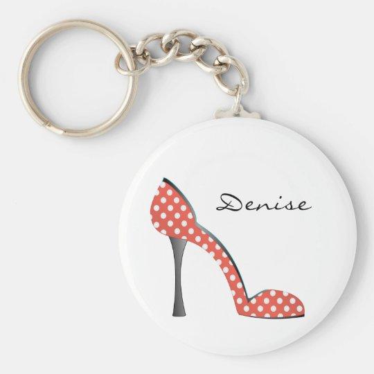 Ladybug Dot Shoe Basic Round Button Key Ring