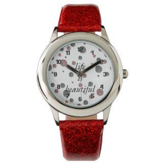 Ladybug Dots Personalized Message Wrist Watch