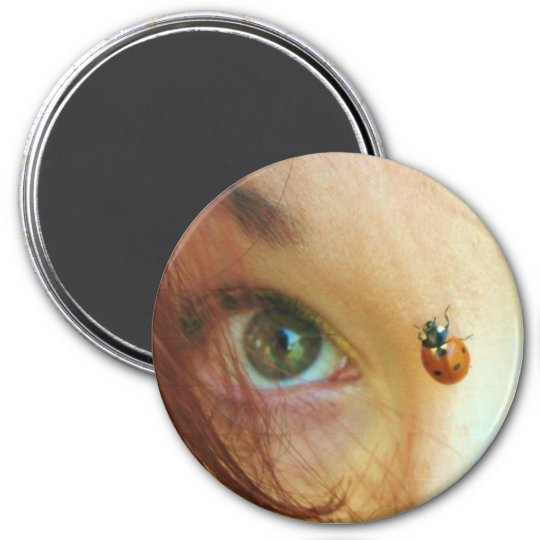 ladybug face 7.5 cm round magnet