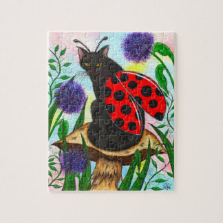 Ladybug Fairy Cat Fantasy Art Puzzle