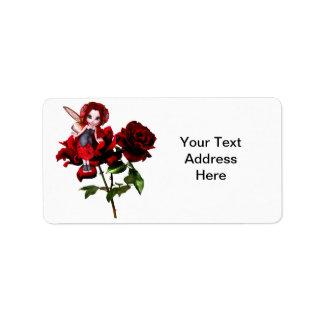 Ladybug Fairy on Red Roses Address Label