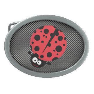 Ladybug; Faux Carbon Fiber Oval Belt Buckles