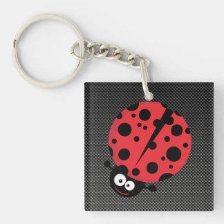Ladybug; Faux Carbon Fiber Square Acrylic Keychains
