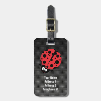 Ladybug; Faux Carbon Fiber Luggage Tag