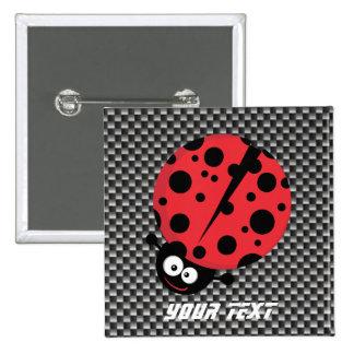 Ladybug Faux Carbon Fiber Pinback Button