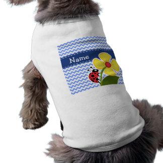 Ladybug & Flower; Blue Chevron Pattern Dog Clothing