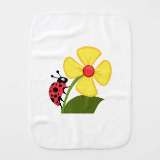 Ladybug Flower Baby Burp Cloth