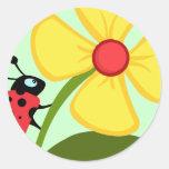 Ladybug Flower Round Stickers