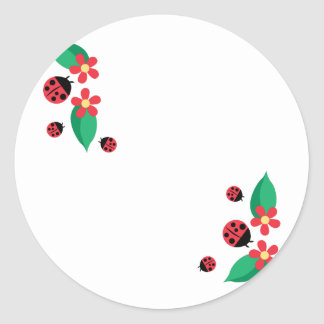 Ladybug Flowers Round Sticker