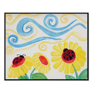 Ladybug & Flowers Watercolor Print
