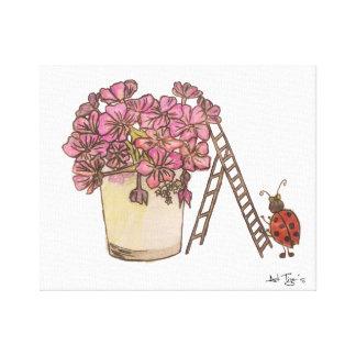 Ladybug Flowery Canvas 12x12