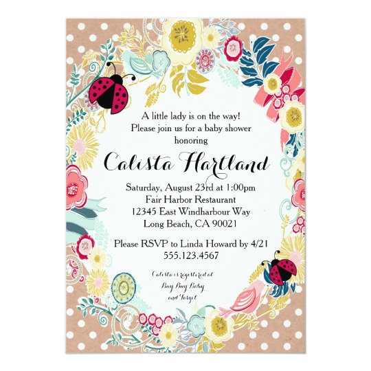 Ladybug girl Baby shower floral invitation